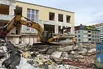 Bourací práce bývalé banky ČSOB začaly v pondělí 22. ledna 2018. Budova, která stála v centru města třicet let, zmizí z povrchu do konce ledna.