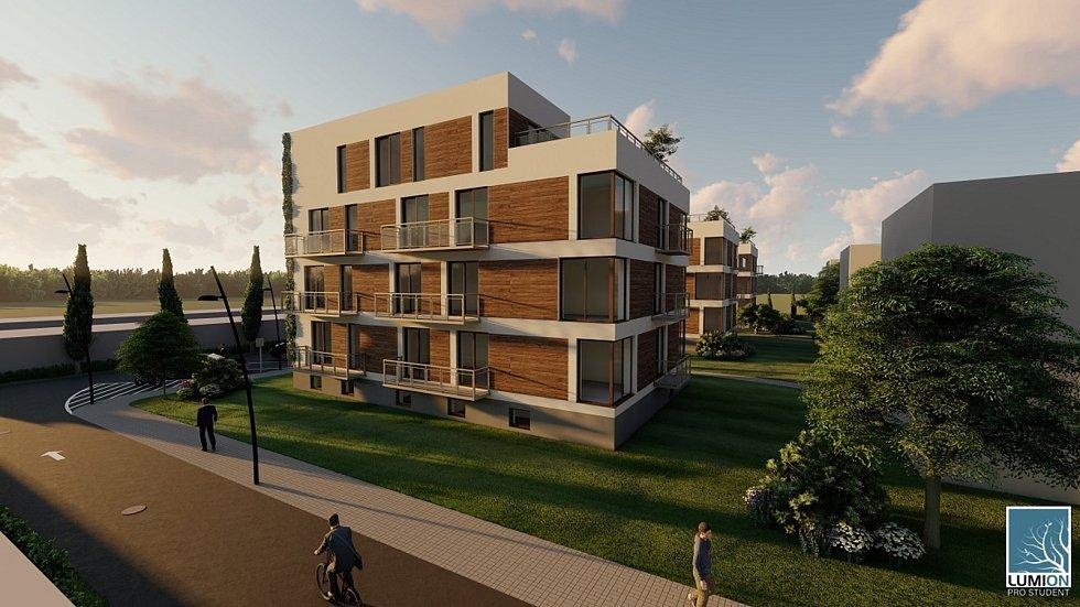 Projekt bytových domů, s nímž Ondřej Adamec zvítězil ve studentské soutěži Stavba roku Zlínského kraje.