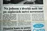 Zpráva o nálezu mrtvého novorozeněte ve Valašských novinách ze dne 15. července 1997.