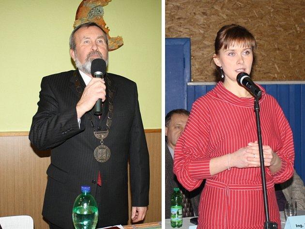 Zleva: starosta Poličné Vladimír Místecký a starostka Krhové Sylva Kristková.