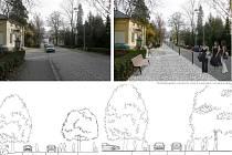 Vizualizace budoucí podoby Palackého ulice v Rožnově pod Radhoštěm v porovnání se současným stavem z dílny architektů firmy HENKAI.