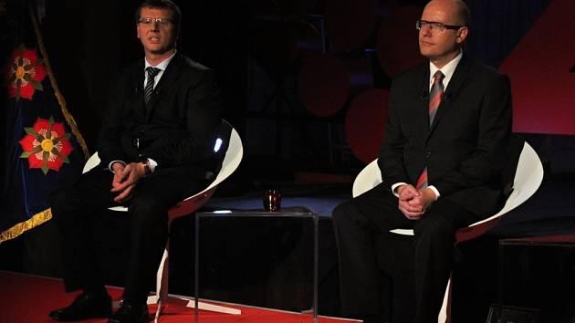 Předvolební debata České televize s moderátory Václavem Moravcem a Zuzanou Tvarůžkovou se ve středu 1. října 2014 vysílala v přímém přenosu z kulturního domu v Kateřinicích, vesnici roku 2014.