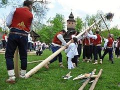 Stavění májky v Dřevěném městečku ve Valašském muzeu v přírodě. Ilustrační foto.