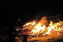 Požár rekreačního objektu ve Velkých Karlovicích.