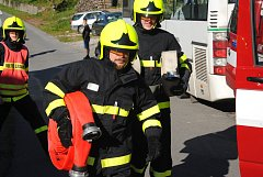 Námětové cvičení dobrovolných hasičů zaměřené na dálkové vedení vody při požáru lesa se uskutečnilo v sobotu 13. října 2018 v Malé Lhotě.
