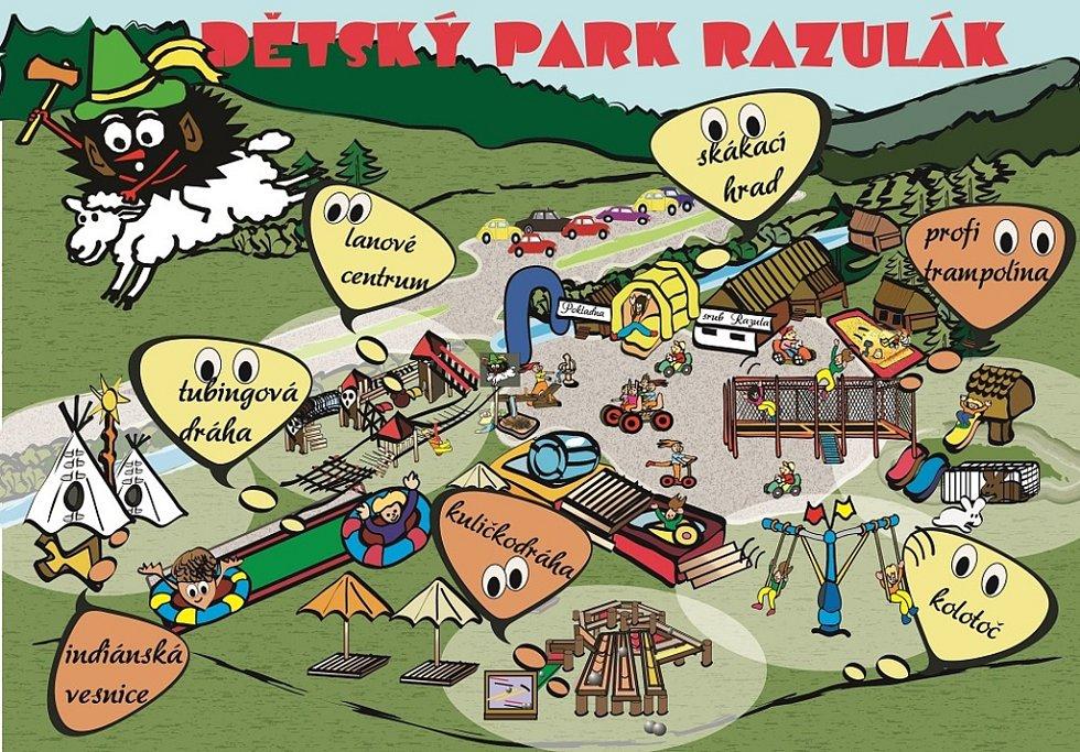 Mapa parku Razulák.