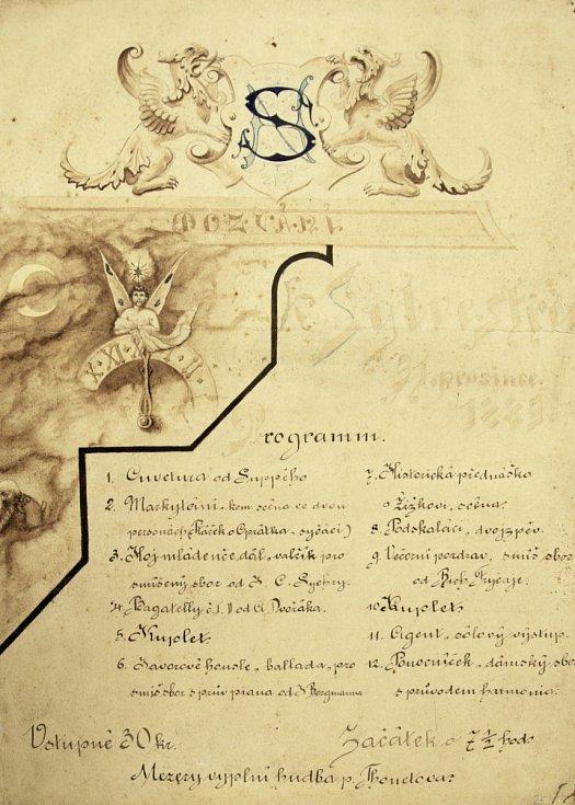 Pozvánka Snahy na Silvestr 1883
