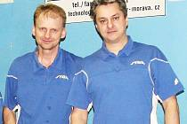 Vsetínští stolní tenisté Štefan Sagáčik (vlevo) a Libor Slováček.