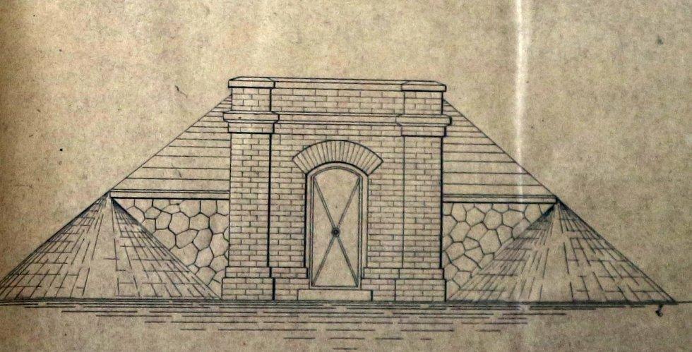 Fragment výkresové dokumentace k zámeckému vodovodu – pohled na bývalý rezervoár.