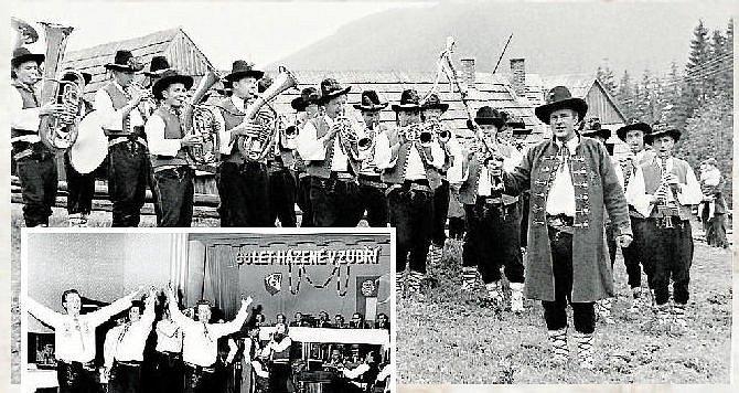 MUZIKANTI.Dechová hudba Zubřanka při vystoupení v Tatrách v roce 1974.