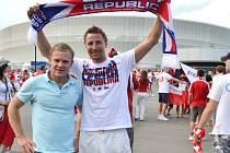 Fanoušek Josef Mikula z Velkých Karlovic na zápase Eura Polsko – ČR ve Vratislavi.