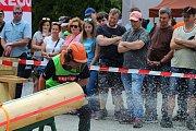 Téměř třicítka borců se sešla v sobotu 12. května 2018 na třetím ročníku dřevorubecké soutěže. Bojovali o titul Prlovský dřevař. Šikmý řez v podání Radka Olejníka.