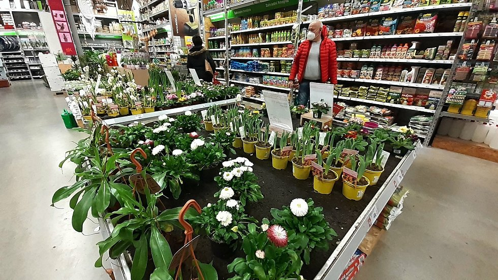 Do prodejen zahradnických potřeb dorazilo jaro. Lidé se ptají po okrasných rostlinách i ovocných stromcích. (Na snímku oddělení zahradnických potřeb v hobby marketu Uni Hobby Valašské Meziříčí).