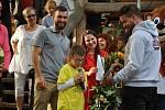 Devítiletý Jakub Guryča při předávání výtěžku veřejné sbírky v Kemp Ranči Bystřička na Vsetínsku; sobota 19. září 2020