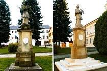 Pískovcová socha sv. Jana Nepomuckého se soklem v Kelči.