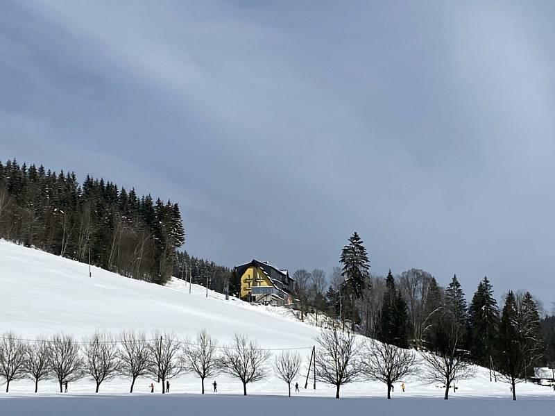 Běžecké stopy ve Velkých Karlovicích; neděle 31. ledna 2021