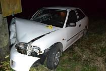 Osobní vůz Hyundai Accent havaroval ve středu 5. dubna 2017 do sloupu v obci Bystřička na Vsetínsku. Příčinou dopravní nehody  byla příliš rychlá jízda mladého řidiče z Valašského Meziříčí.