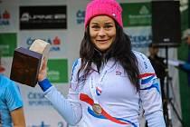 Denisa Stodůlková. Nejprve se jí dařilo na běžkách. Nyní láme rekordy na kole.