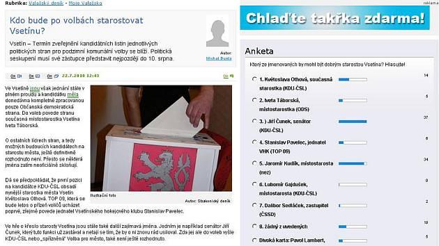 Jak dopadlo hlasování na webu Valašského deníku?