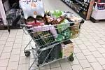 Jak nakupuje prepper? Nákupní košík plní moukou, těstovinami, konzervami a dalšími trvanlivými potravinami.
