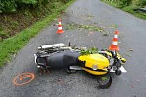 Těžké zranění mladého řidiče motocyklu si vyžádala dopravní nehoda u Hutiska-Solance