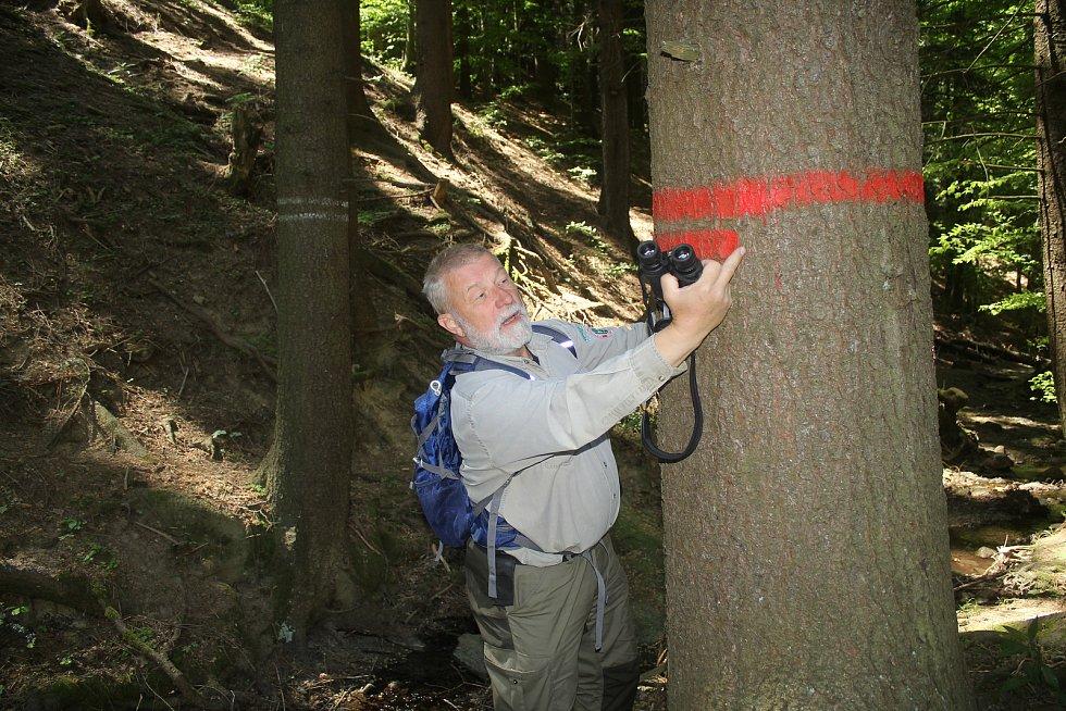 Jaromír Navrátil je dobrovolným strážcem CHKO Beskydy. Pulčínské skály mu učarovaly už v dětství. Je i okolí chrání už přes čtyřicet let. Hranice Národní přírodní rezervace vytyčují dva pruhy na stromu.