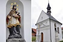 Kaple svaté Marie se sochou svatého Jana Nepomuckého a křížem na návsi v Kladerubech na Kelečsku.