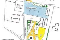 Grafický návrh nové podoby centra obce Bystřička na Vsetínsku.