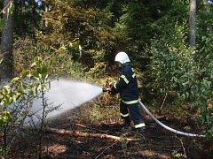 Požár lesa ve Střelné