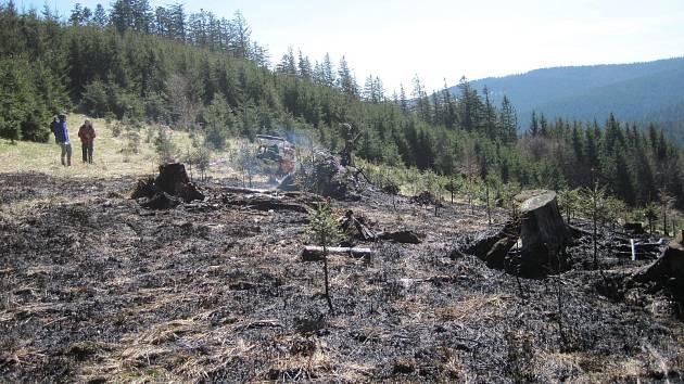 Požár lesa ve Velkých Karlovicích