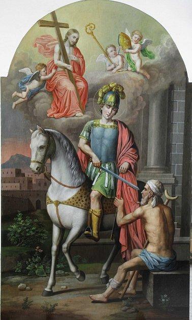 Ignaz Johann Berger: Sv. Martin (stav po restaurování vroce 2016), olej na plátně, 1882