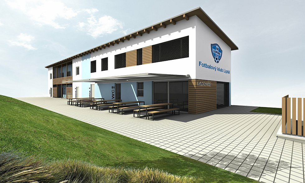Liptál - vizualizace rekonstruované budovy ve sportovním areálu v Liptále.