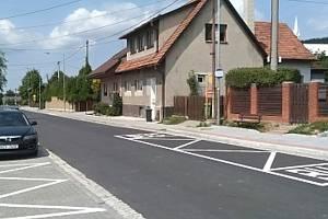 Opravená silnice ve Viganticích; srpen 2019