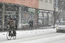 Sněžení ve Vsetíně v pondělí 5. ledna 2015