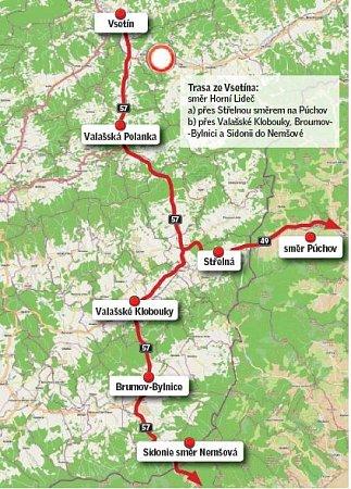Objízdná trasa ze Vsetína.