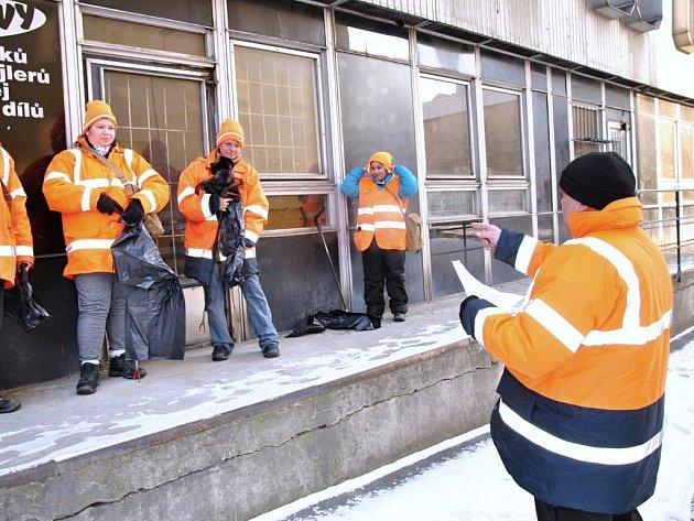 Rozdělování úkolů pracovníkům Technických služeb ve Valašském Meziříčí.