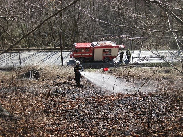 Hasiči likvidují požár trávy a lesního porostu v městské části Horní Jasenka ve Vsetíně.