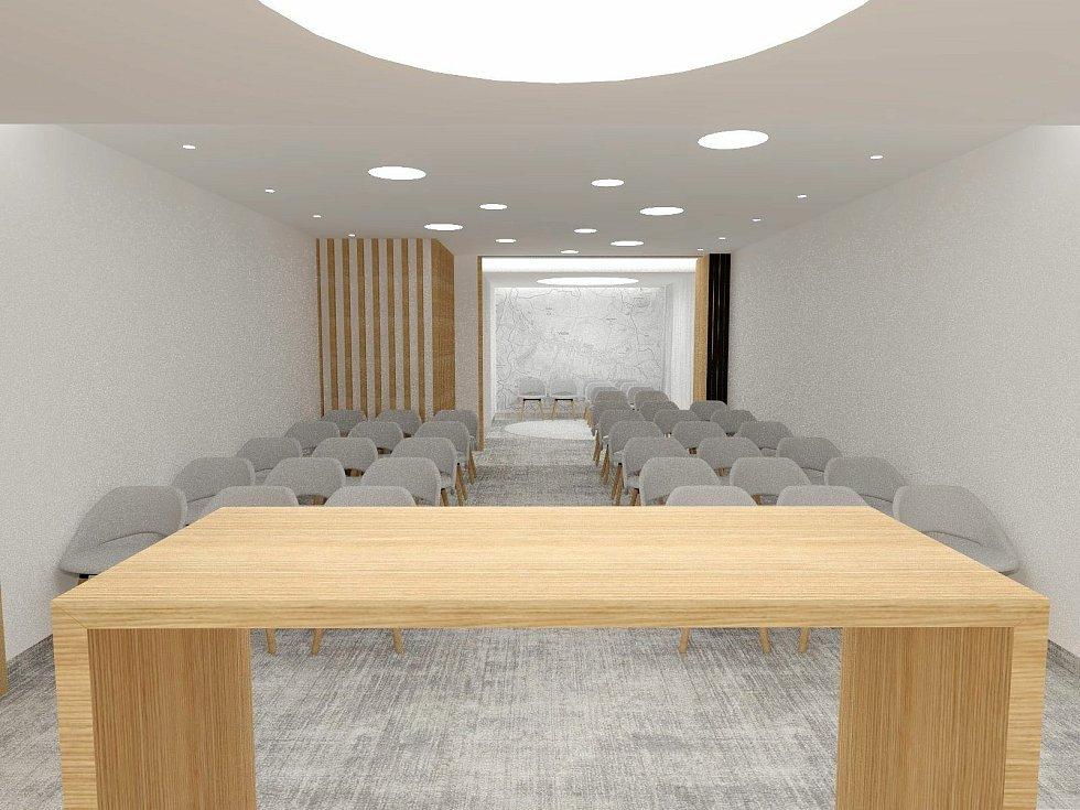 Vidče - vizualizace budoucí podoby obřadní síně v budově obecního úřadu ve Vidči.