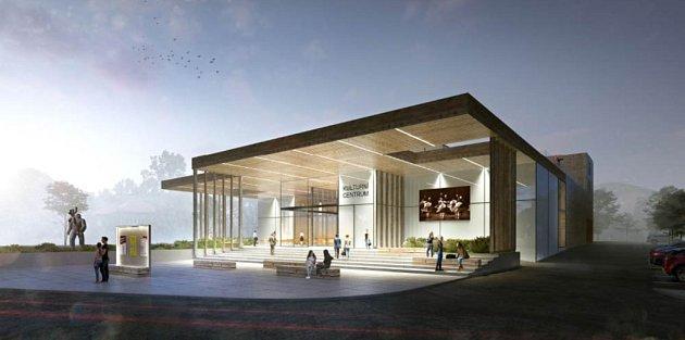 Vítězný návrh podoby plánovaného kulturního centra vRožnově pod Radhoštěm zateliéru Archteam zBrna.