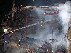 Požár pily ve Francově  Lhotě.