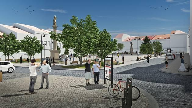 Vizualizace budoucí podoby náměstí ve Valašském Meziříčí.