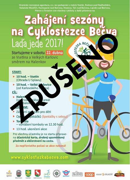 Plánovanou sobotní akci Láďa jede 2017, která měla zahájit sezonu na Cyklostezce Bečva, pořadatelé zrušili pro nepřízeň počasí.