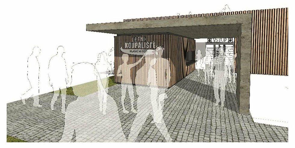 Vizualizace budoucí podoby rekonstruovaného vstupu do areálu letního koupaliště ve Valašském Meziříčí.