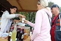 Pavla Zajícová z Horní Bečvy (vlevo) přivezla v sobotu 15. září 2018 na Ovčácké slavnosti na Santov v Malé Bystřici bohatou nabídku svých domácích sirupů, limonád a džemů.