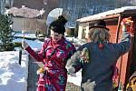 Masopustní obchůzka v Lužné na Hornolidečsku; neděle 15. února 2015