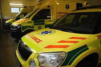 Sanitní vozy v garážích Zdravotnické záchranné služby ve Valašském Meziříčí; 3. února 2020