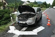 Požár motoru automobilu za jízdy