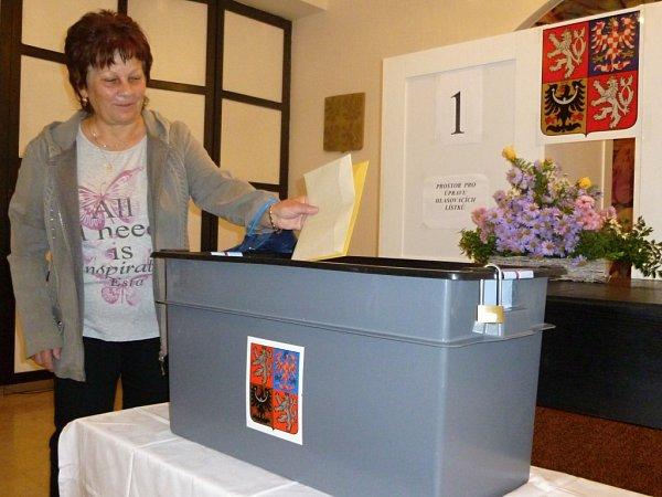 Jako první odvolila vHorní Lidči sedmašedesátiletá Marie Golasová.