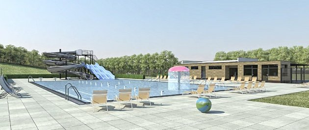 NÁVRH. Nové koupaliště by mělo Zubřanům sloužit už vlétě 2018, areál by měl nabídnout itobogan či prostory pro relaxaci.
