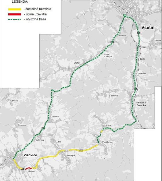 Silnice zPozděchova do Vizovic je do října uzavřená.